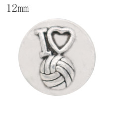 12MM love snap antique sliver Plated KS6373-S snap jewelry