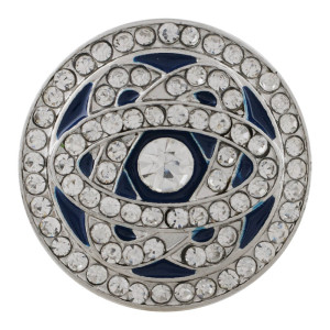 20MM round sliver Plated with white rhinestone and enamel KC6538 snaps jewelry