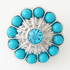 20MM Round snap Silver Plated with light blue rhinestone and small beads KB6445 snaps jewelry