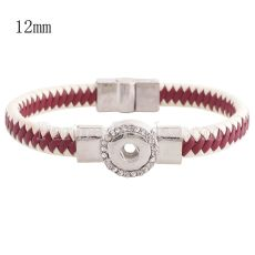 Partnerbeads 7.48 inch 1 snap button rose leather bracelets with Rhinestone fit 12mm snaps KS0663-S