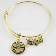 Antique gold plated Expandable Wire Bangle with metal charm
