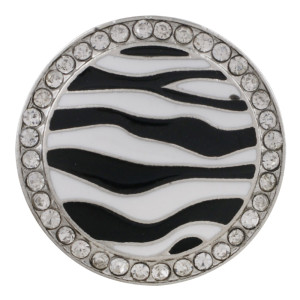 20MM round sliver Plated with white rhinestone and enamel KC6547 snaps jewelry