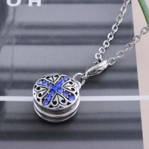 12MM cross snap sliver plated with blue Rhinestone KS6257-S interchangeable snaps jewelry