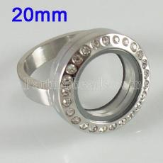 Stainless Steel RING  Mix6-10# size  with Dia 20mm floating charm locket silver color