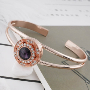 20MM round Rose Gold Plated with purple rhinestone KC6489 snaps jewelry