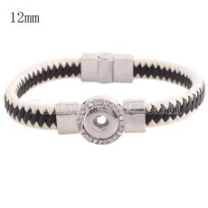 Partnerbeads 7.48 inch 1 snap button black leather bracelets with Rhinestone fit 12mm snaps KS0664-S