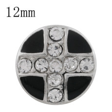 12MM cross sliver Plated with rhinestone and black enamel KS6329-S Diameter