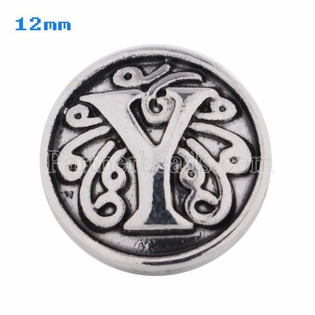 12mm Y Antique snaps Silver Plated KS5023-S snap jewelry