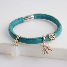 Discount sale 18CM Blue Leather Bracelets with beads and charms