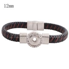 Partnerbeads 7.48 inch 1 snap button black leather bracelets with Rhinestone fit 12mm snaps KS0665-S