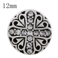 12MM cross snap sliver plated with white Rhinestone KS6256-S interchangeable snaps jewelry