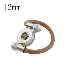 12MM snaps brown leather Ring KS1189-S snaps jewelry