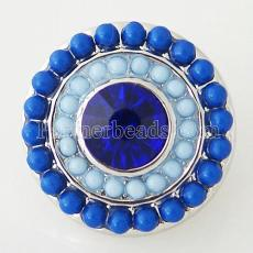 20MM Round snap Silver Plated with blue rhinestone and small beads KB6401 snaps jewelry