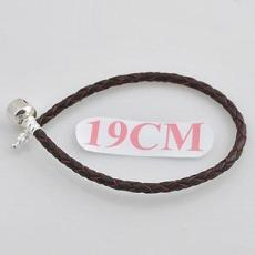 19CM partner S925 real leather bracelet with plain clip/without joints