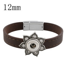 19CM brown leather bracelets with rhinestone KS0667-S fit 12MM snaps chunks