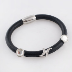 Discount sale 19CM Black Leather Bracelets with beads and charms