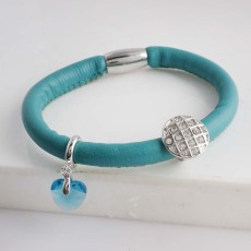Discount sale18CM Light Green Leather Bracelets with beads and charms