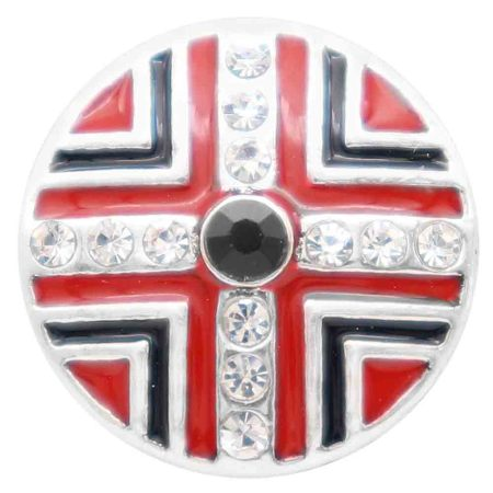 20MM round snap silver Plated with  Rhinestones and red enamel KC7800 snaps jewerly