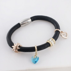 Discount sale 20CM Black Leather Bracelets with beads and charms