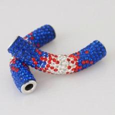 50mm Alloy tube beads with rhinestones