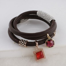 Discount sale 59CM Brown story Leather Bracelets with beads and charms