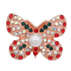 20MM  Butterfly Rose Gold snap Plated with Red, white and green rhinestone Pearl inlay  KC8055 snaps jewelry