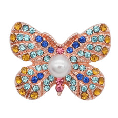 20MM  Butterfly Rose Gold snap Plated with Yellow, blue and pink rhinestone Pearl inlay KC8056 snaps jewelry