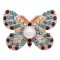 20MM Butterfly Rose Gold snap Plated with blue rhinestone and Pearl KC8057 snaps Charms