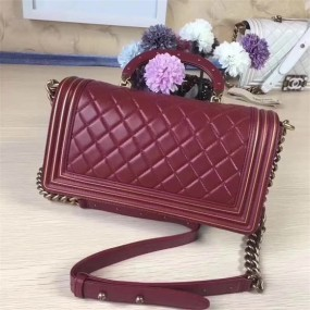 chanel bag high quality Dark red original leather classical gold Buckle