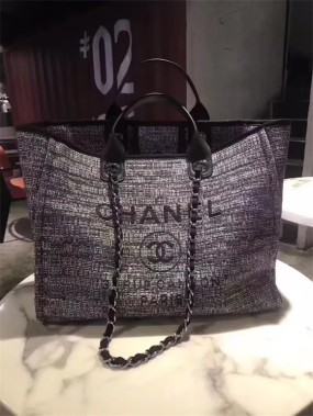 chanel bag high quality Grey shopping bag new summer
