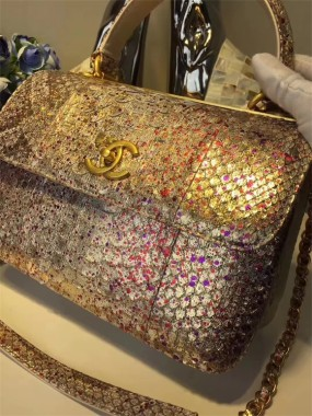 chanel bag high Multicolor splashing South African python original leather shoulder bag