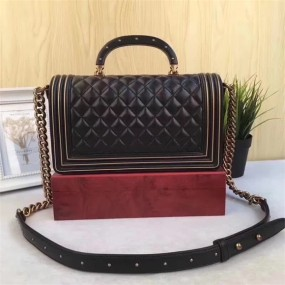 chanel bag high quality Vintage style black leather original handbag