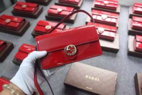 original red patent leather bag new luxury temperament hot fashion leather shoulder bag original