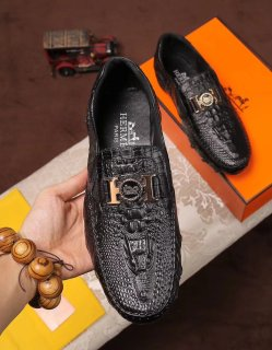 Hermès 2018 Latest Lace-up Feet Leather Shoes Casual Shoes Business Shoes