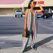 Colored Stripe Sleeveless Button Up Long Jumpsuit CH-8041