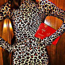 Leopard Print Long Sleeve With Gloves Mini Bodycon Dress FL-88094