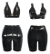 Sexy PU Leather 2 Piece Deep V Crop Tops And Shorts Set VD-5167