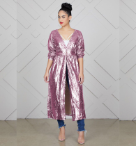 Solid Sequined Shiny V Neck Long Coats TR-866