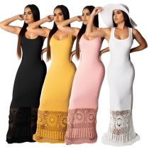 Sexy Parchwork Sleeveless Slim Floor Length Maxi Dresses SMR9277