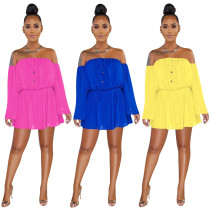 Plus Size Sexy Slash Neck Long Sleeve Wide Leg Rompers HGL-1176
