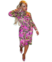 Floral Print Long Sleeve Bodycon Dress OM-1006