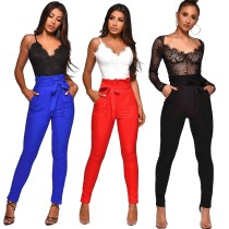 Solid Color High Waist Long Pant ME-222