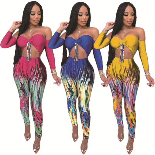 Sexy Printed Strapless Tie Up High Waist Bodycon Jumpsuits DAI-8176