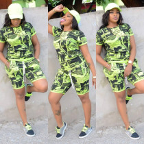 Novelty Printed T Shirt And Shorts 2 Piece Sets ML-7187