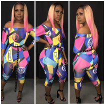 Plus Size Geometric Print Slash Neck Jumpsuit PIN-8277