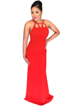 Graceful Ladies Red Hollow Out Sleeveless Floor Length Party Dress SMR8673