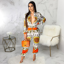 Retro Print Front Zipper Long Sleeve One Piece Jumpsuits SMR9278