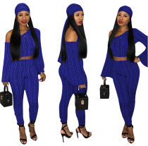 Plus Size Printed 3Pcs Crop Tops +Pants +Scarf LSD-8184