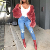 Sexy Winter Long Sleeve Short  Fur Jackets FC411