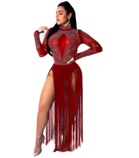 Sexy Rhinestone Tassel Long Club Dress CYA-8065